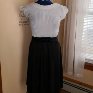 Vintage 1970s black and white full skirt dress